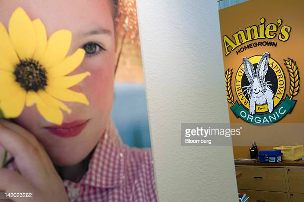 Annie's Inc signage is displayed on a wall at the company's corporate headquarters in Berkeley California US on Wednesday March 28 2012 Annie's Inc...