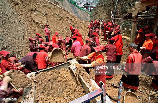 'Annies' Tibetan Buddhist nuns labour to build a giant stupa on the grasslands near Tagong Sichuan The stupa belongs to the local nunnery although...