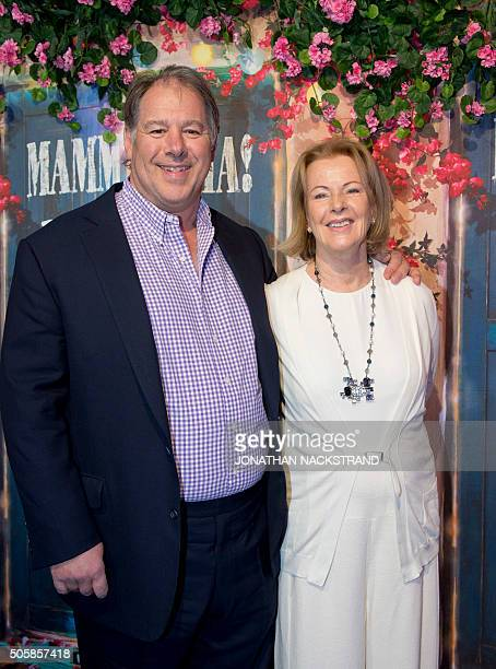 AnniFrid Lyngstad a member of Swedish disco group ABBA attends the opening of 'Mamma Mia The party' a new restaurant in Stockholm where people can...