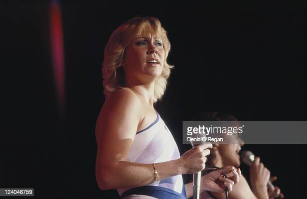AnniFrid Lyngstad and Agnetha Faltskog of Swedish pop group ABBA in concert 1979