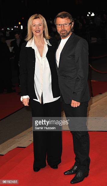 AnniFrid Lyngstad and Bjorn Ulvaeus of Abba arrive at the ABBAWORLD Exhibition World Premiere at Earls Court on January 26 2010 in London England