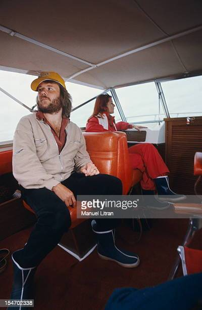 Anni-Frid Lyngstad and her husband Benny Andersson on board their boat.