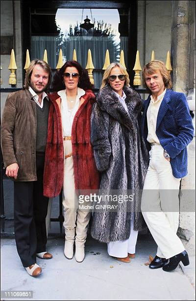 AnniFrid Lyngstad Benny Anderson Agnetha Faltskog Bjorn Ulvaeus of the ABBA in Paris France in 1979
