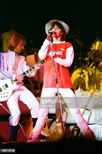 AnniFrid Lyngstad of ABBA wearing an Arsenal Football Club shirt performs on stage at Wembley Arena on November 8th 1979 in London United Kingdom