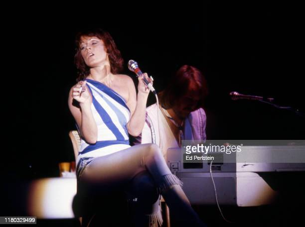 Anni-Frid Lyngstad performs with ABBA at Concord Pavilion on September 19, 1979 in Concord, California.