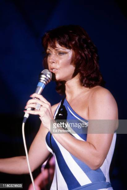 AnniFrid Lyngstad performs with ABBA at Concord Pavilion on September 19 1979 in Concord California