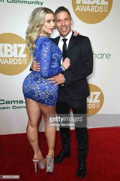Annika Albrite and Mick Blue attend the 2018 XBIZ Awards on January 18 2018 in Los Angeles California