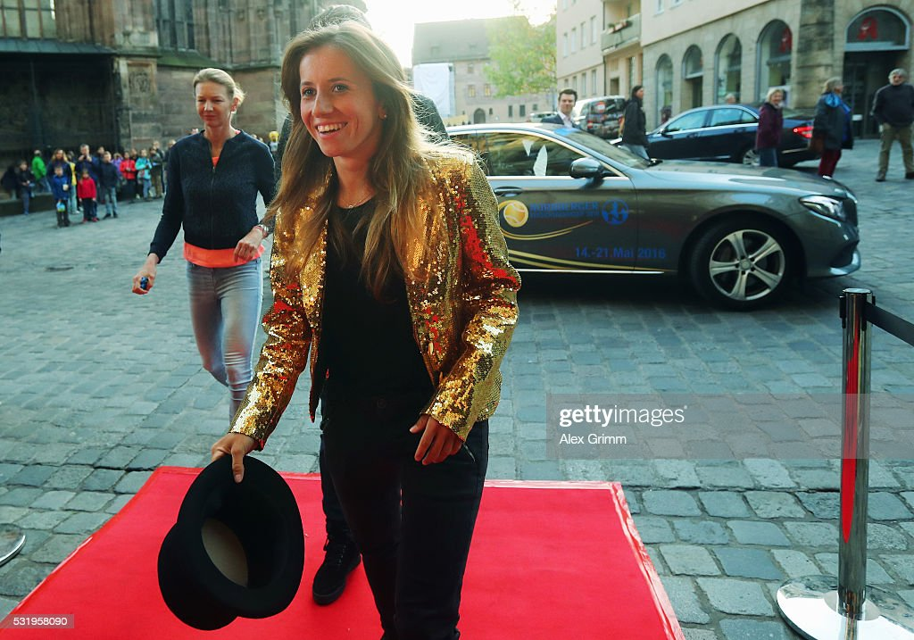 Annika Beck arrives for the Players' Party on day four of the Nuernberger Versicherungscup 2016 on May 17, 2016 in Nuremberg, Germany.