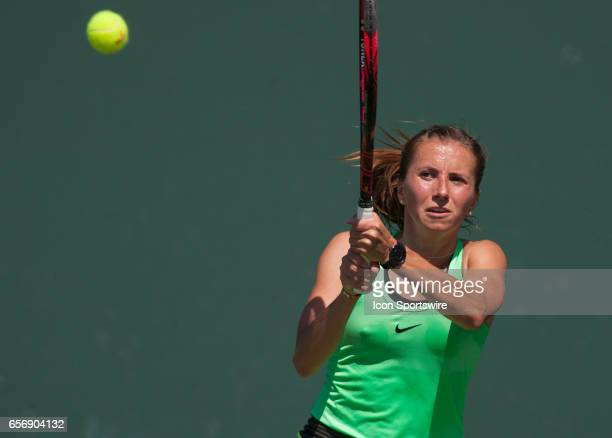 Annika Beck in action during the Miami Open on March 22 at the Tennis Center at Crandon Park in Key Biscayne FL