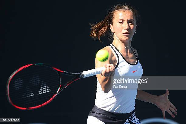 Annika Beck of Germany and Anastasija Sevastova compete in their first round doubles match against Alison Bai and Lizette Cabrera of Australia on day...