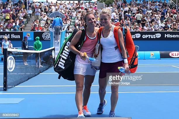 Annika Beck of Germany and Laura Siegemund of Germany embrace after their third round match during day six of the 2016 Australian Open at Melbourne...