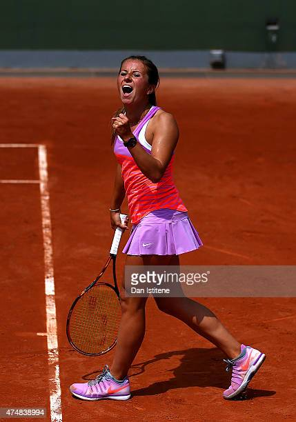 Annika Beck of Germany celebrates match point during her women's singles match against Paula Kania of Poland during day four of the 2015 French Open...