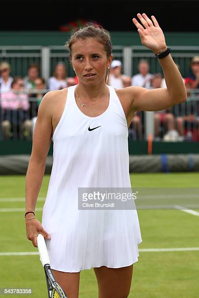 Annika Beck of Germany celebrates victory during the Ladies Singles first round match against Heather Watson of Great Britain on day four of the...