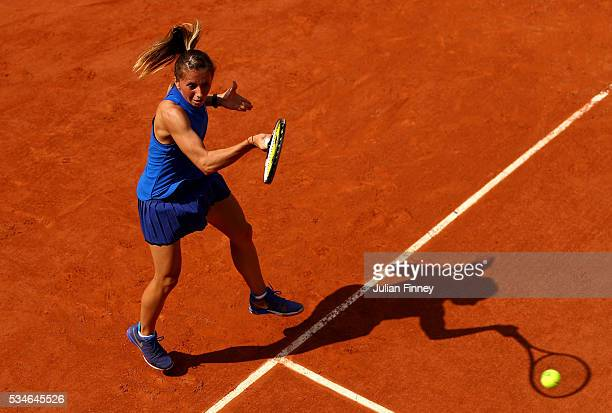 Annika Beck of Germany hits a forehand during the Ladies Singles third round match against IrinaCamelia Begu of Romania on day six of the 2016 French...