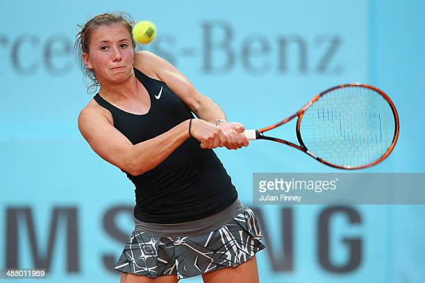 Annika Beck of Germany in action against Magdalena Rybarikova of Slovakia during day one of the Mutua Madrid Open tennis tournament at the Caja...