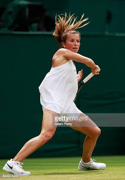 Annika Beck of Germany plays a forehand during the Ladies Singles third round match against Serena Williams of The United States on Middle Sunday of...
