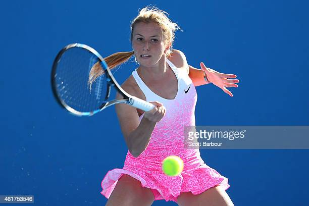 Annika Beck of Germany plays a forehand in her first round match against Silvia SolerEspinosa of Spain during day one of the 2015 Australian Open at...