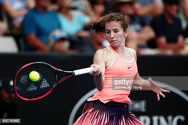 Annika Beck of Germany plays a forehand in her match against Naomi Osaka of Japan on day one of the ASB Classic on January 2 2017 in Auckland New...