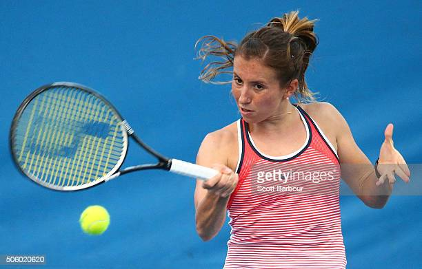 Annika Beck of Germany plays a forehand in her second round match against Timea Bacsinszky of Switzerland during day four of the 2016 Australian Open...