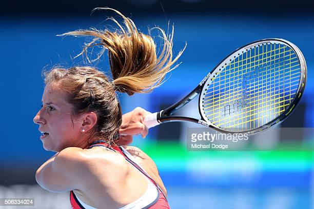 Annika Beck of Germany plays a forehand in her third round match against Laura Siegemund of Germany during day six of the 2016 Australian Open at...