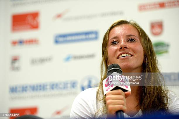 Annika Beck of Germany reacts in a press conference during day six of the Nuernberger Insurance Cup on June 13 2013 in Nuremberg Germany