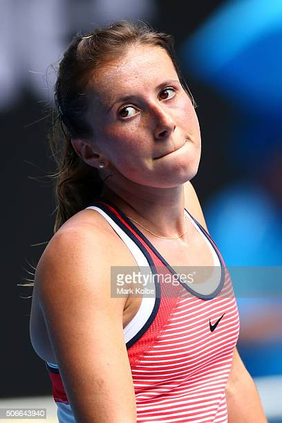 Annika Beck of Germany reacts in her fourth round match against Angelique Kerber of Germany during day eight of the 2016 Australian Open at Melbourne...