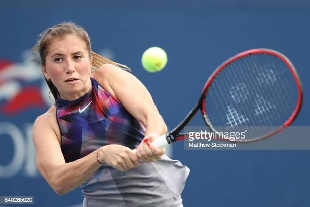 Annika Beck of Germany returns a shot against Julia Goerges of Germany during their first round Women's Singles match on Day One of the 2017 US Open...