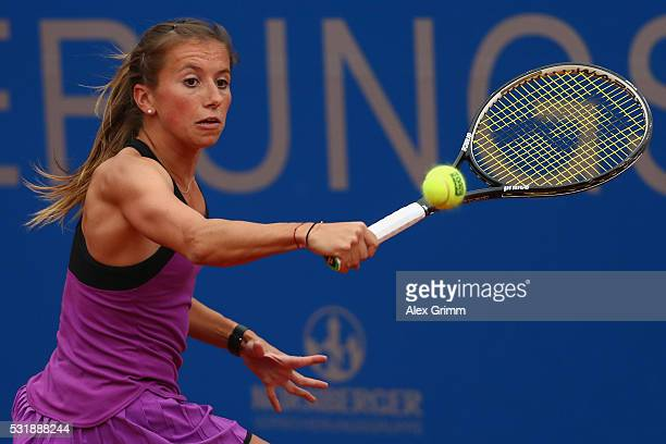 Annika Beck of Germany returns the ball to Nicole Gibbs of USA during day four of the Nuernberger Versicherungscup 2016 on May 17 2016 in Nuremberg...