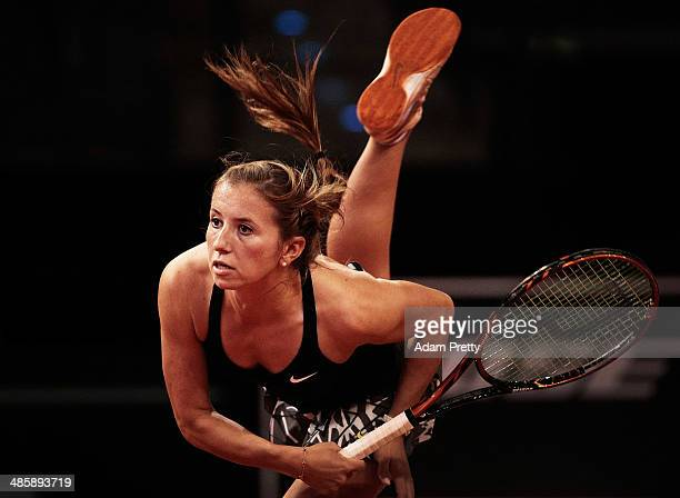 Annika Beck of Germany serves during her first round match against of the Katerina Vankova of the Czech Republic on day one of the Porsche Tennis...