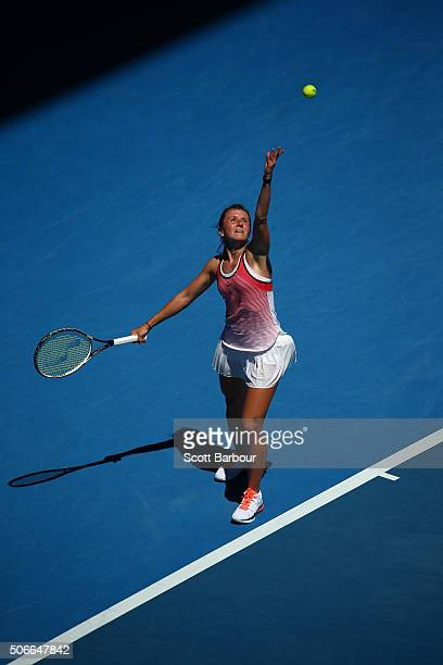 Annika Beck of Germany serves in her fourth round match against Angelique Kerber of Germany during day eight of the 2016 Australian Open at Melbourne...