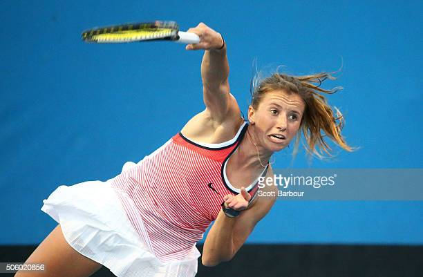 Annika Beck of Germany serves in her second round match against Timea Bacsinszky of Switzerland during day four of the 2016 Australian Open at...
