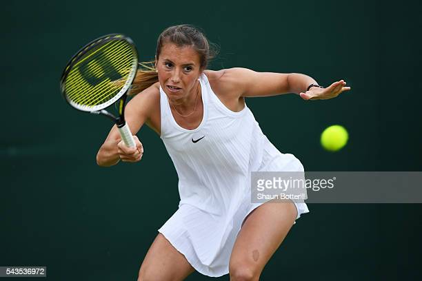 Annika Beck of Great Britain plays a forehand during the Ladies Singles second round match against Heather Watson of Great Britain on day three of...