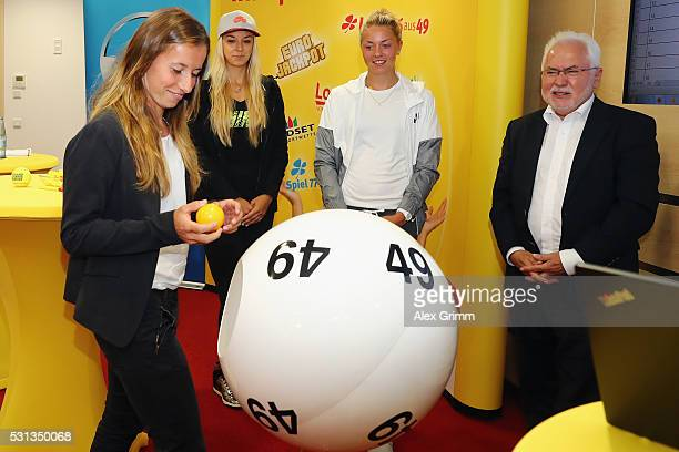 Annika Beck Sabine Lisicki and Carina Witthoeft of Germany attend the official draw ceremony with Lotto Bayern President Erwin Horak during Day One...