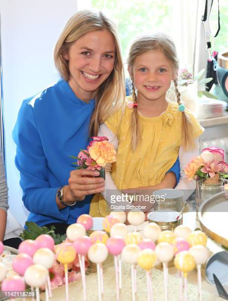 Annika Blendl and her daughter Elisabeth during the Nicki'scom and Madame Happy Mother's Day event at Prisco Haus on May 7 2019 in Munich Germany