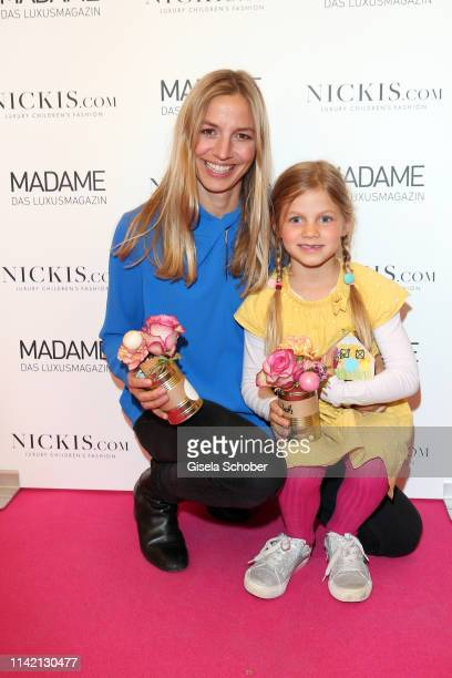 Annika Blendl and her daughter Elisabeth during the Nicki'scom Madame Happy Mother's Day event at Prisco Haus on May 7 2019 in Munich Germany