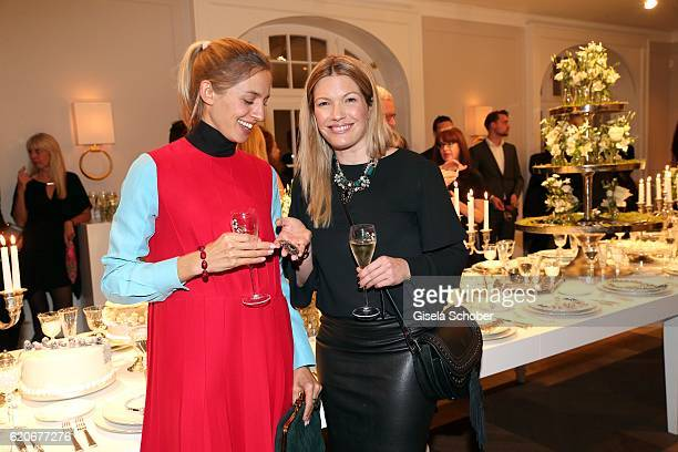 Annika Blendl wearing jewelry by Swarovski and Jessica Kastrop during the Swarovski World Jewelry Facets exhibition at Villa Wagner on November 2...