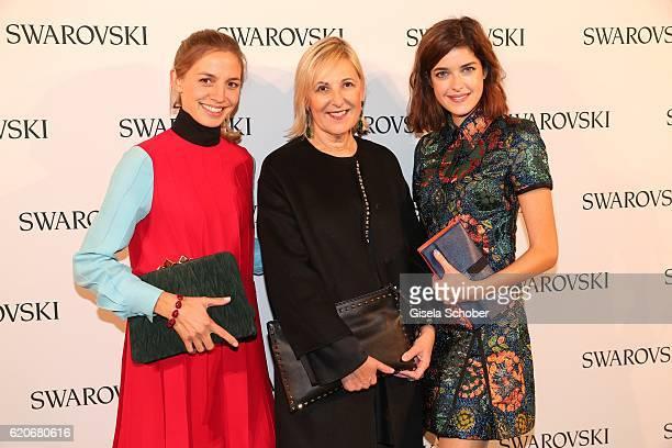 Annika Blendl wearing jewelry by Swarovski Carla Rumler Cultural Director Swarovski and Marie Nasemann during the Swarovski World Jewelry Facets...