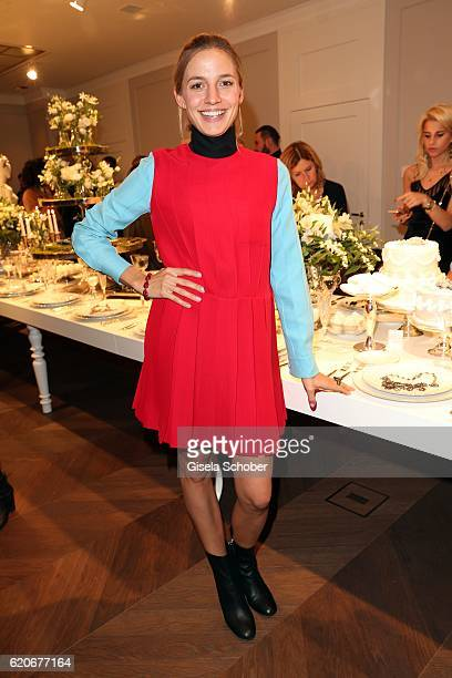 Annika Blendl wearing jewelry by Swarovski during the Swarovski World Jewelry Facets exhibition at Villa Wagner on November 2 2016 in Munich Germany