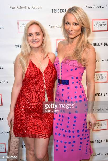 Annika Connor and Indira Cesarine attend Tribeca Ball to benefit New York Academy of Art at New York Academy of Art on April 9 2018 in New York City...