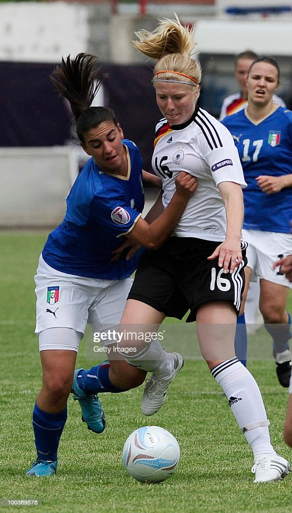 Annika Dople (R) of Germany fights for the ball with Michaela Franco of Italy during the UEFA Women's Under-19 European Championship group A match between Germany and Italy at Milano Arena on May 24, 2010 in Kumanovo, Macedonia.