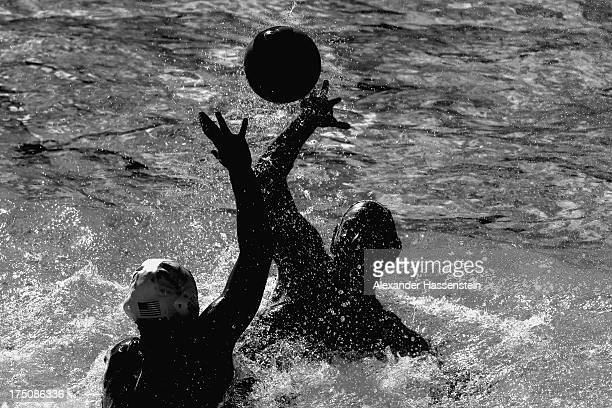 Annika Dries of USA in action against Lieke Klaassen of Netherlands during the Women's Water Polo classification 5th/8th round match between USA and...