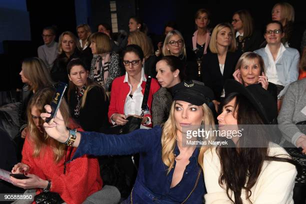 Annika Gassner and Raffaela White take a selfie at the Sportalm show during the MBFW Berlin January 2018 at ewerk on January 17 2018 in Berlin Germany