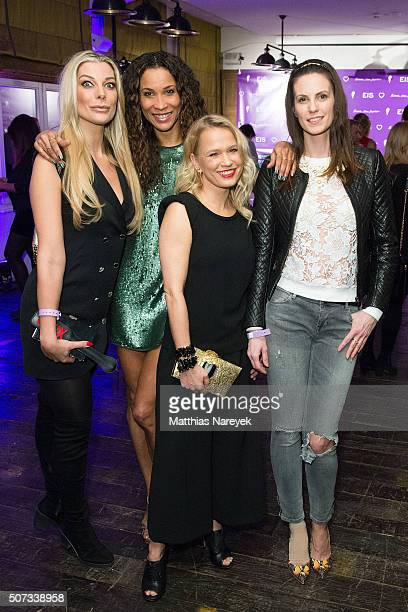 Annika Gassner, Annabelle Mandeng, Nova Meierhenrich and Katrin Wrobel attend the EIS! party at Soho house on January 28, 2016 in Berlin, Germany.