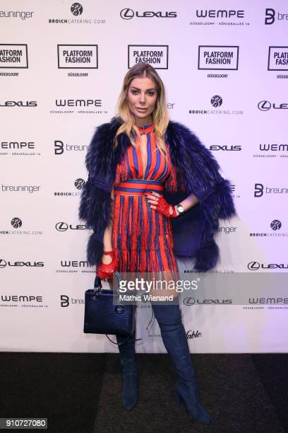 Annika Gassner attends the Breuninger show during Platform Fashion January 2018 at Areal Boehler on January 26, 2018 in Duesseldorf, Germany.