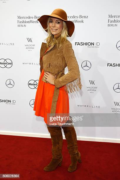 Annika Gassner attends the Dimitri show during the Mercedes-Benz Fashion Week Berlin Autumn/Winter 2016 at Brandenburg Gate on January 21, 2016 in...