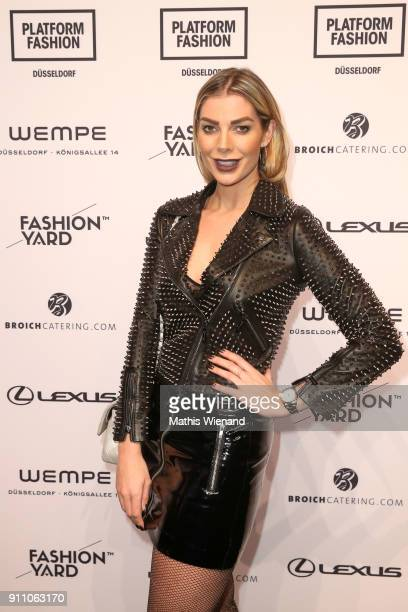Annika Gassner attends the Fashionyard show during Platform Fashion January 2018 at Areal Boehler on January 27, 2018 in Duesseldorf, Germany.
