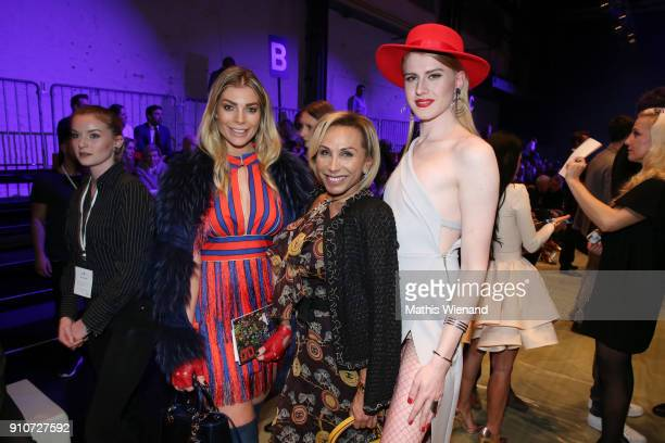 Annika Gassner Julia Prillwitz and Veit Alex attend the Breuninger show during Platform Fashion January 2018 at Areal Boehler on January 26 2018 in...