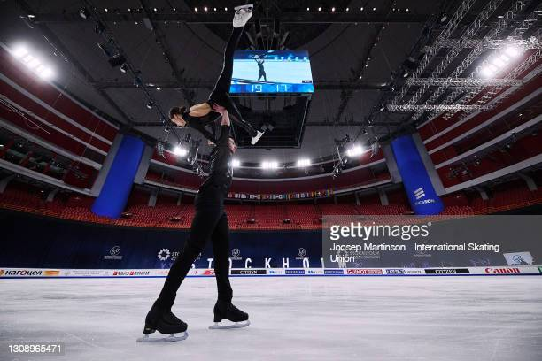 Annika Hocke and Robert Kunkel of Germany compete in the Pairs Short Program during day one of the ISU World Figure Skating Championships at Ericsson...