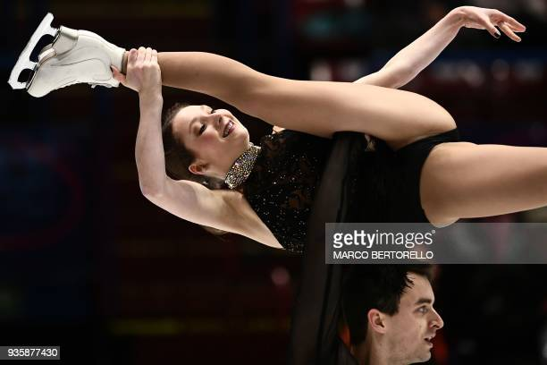 Annika Hocke and Ruben Blommaert from Germany perform on March 21 2018 in Milan during the Pairs figure skating short program at the Milano World...