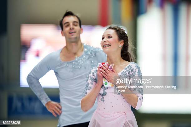 Annika Hocke and Ruben Blommaert of Germany react in the Pairs Free Skating during the Nebelhorn Trophy 2017 at Eissportzentrum on September 29 2017...